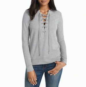 B2G1 WHBM Gray Lace Up Sweatshirt/Pullover